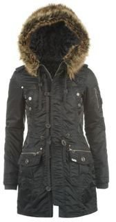 Lee Cooper Fur Collar Parka Ladies - Dark Blue