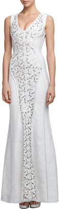 Herve Leger Beaded Sequined Bandage Gown