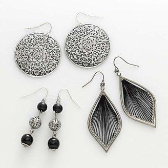 2989fa93b Mudd Silver Tone Filigree Disc, Bead Linear & Thread-Wrapped Drop Earring  Set