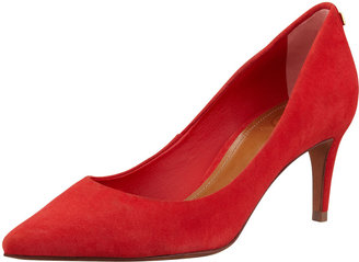 Tory Burch Ivy Pointed-Toe Suede Pump, Red
