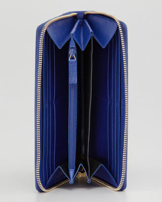 Saint Laurent Belle De Jour Zip Wallet, Blue