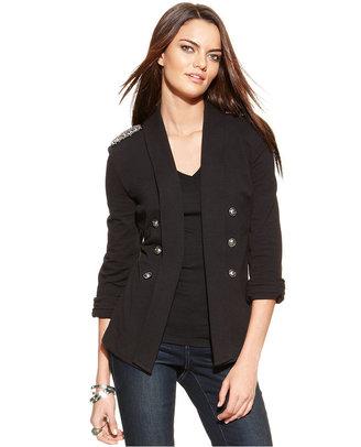 INC International Concepts Embellished Open-Front Military Jacket