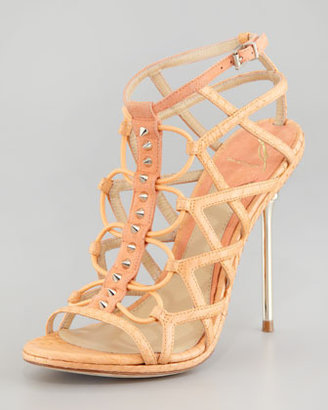 Brian Atwood Mirante Studded Stretch Cage Sandal, Orange