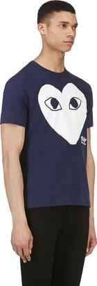 Comme des Garcons Navy & White Heart Logo T-Shirt
