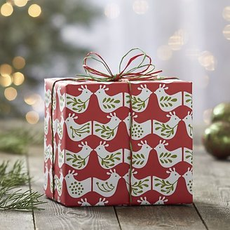 Crate & Barrel Mini Bird Red and Green Gift Wrap.