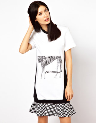 Ostwald Helgason Sweater Dress with Cheetah Print and Quilted Patch