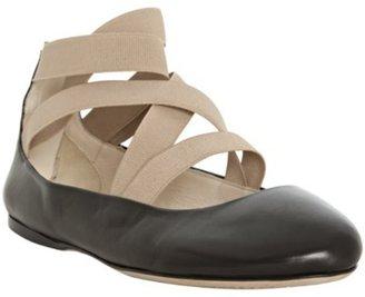 Prada black leather bi-color ankle wrap flats