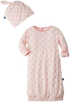 Kicky Pants Newborn Print Layette Gown And Knot Hat Set