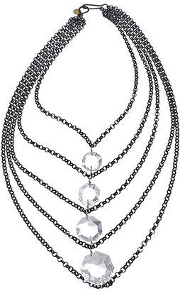 Wendy Mink Crystal Layered Gunmetal Necklace