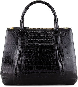 Nancy Gonzalez Mini Double-Zip Crocodile Tote Bag, Black