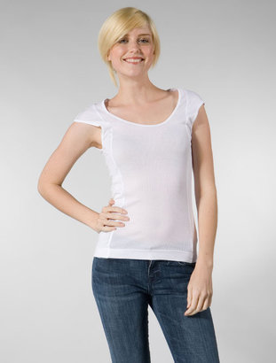 Theory Ramelle Scoop Neck Rib Tee in White