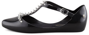 Melissa Shoes Doris Spiked T-Strap Flat, Black