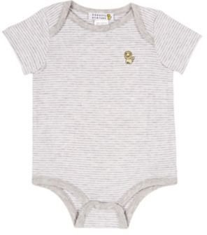 Barneys New York Striped Bodysuit-WHITE, GREY
