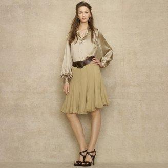 Ralph Lauren Blue Label Izabella Crinkled Silk Skirt