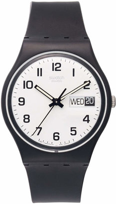 Swatch Watch, Unisex Swiss Once Again Black Plastic Strap 34mm GB743 $50 thestylecure.com