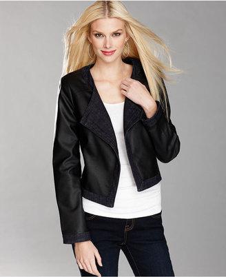INC International Concepts Jacket, Denim-Trim Faux-Leather