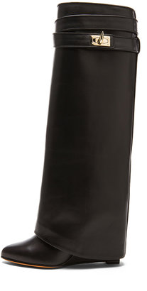 Givenchy Shark Lock Calfskin Leather Wedge Boots in Black