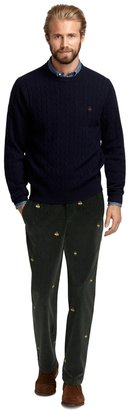 Brooks Brothers Clark Fit Holiday Fleece Embroidered Corduroys