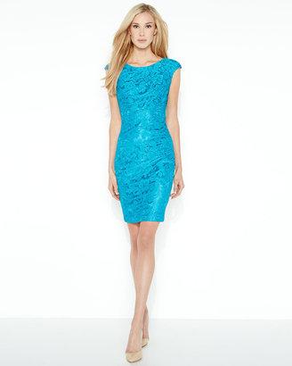 Jax Paneled Lace Cap-Sleeve Dress, Peacock