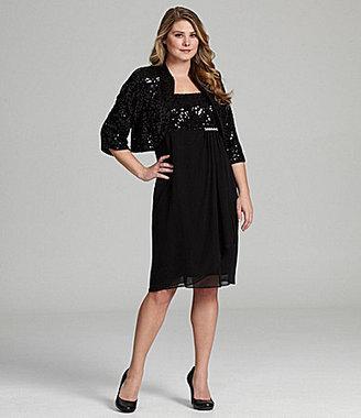 R & M Richards Woman Sequin Jacket Dress