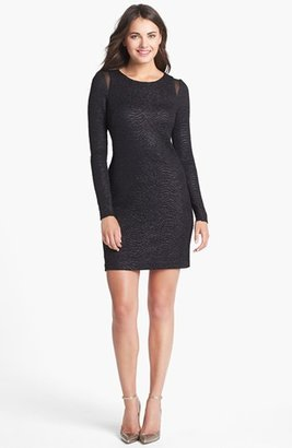 Betsey Johnson Mesh Inset Textured Sheath Dress
