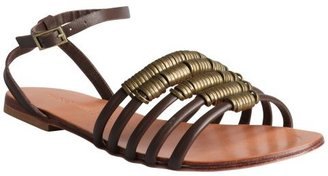 Madison Harding brown leather 'Arty' cage flat sandals