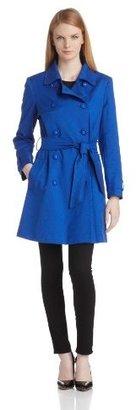 Helene Berman Women's Cobalt Blue Textured Trench Coat