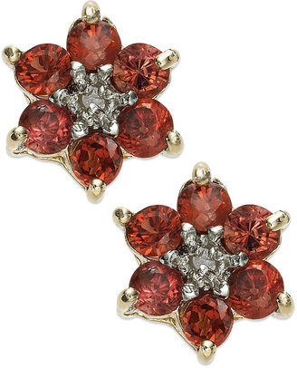 Townsend Victoria 18k Gold over Sterling Silver Earrings, Garnet (1-5/8 ct. t.w) and Diamond Accent Flower Stud Earrings