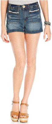 Dollhouse Juniors Shorts, Cuffed Medium Wash Lace-Trim