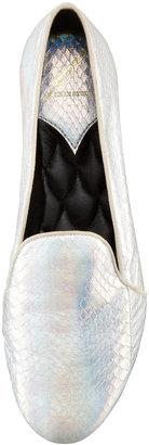 Brian Atwood Claudelle Hologram Snakeskin Slipper, Silver