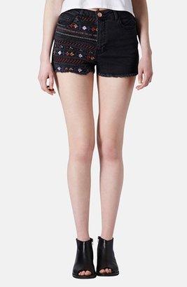 Topshop Moto Embroidered Denim Cutoff Shorts