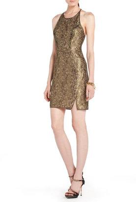 BCBGMAXAZRIA Gold Metallic Lace Dress