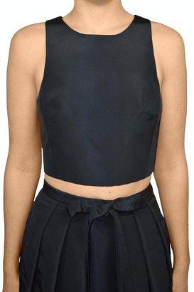 Tibi Silk Cropped Top