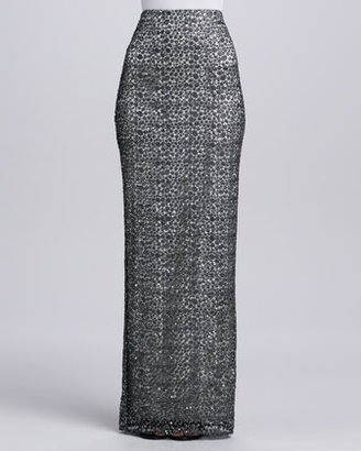 Kay Unger New York Sequined Lace Long Straight Skirt