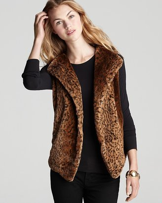 Aqua Vest - Animal Print Faux Fur Knit Back