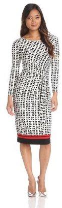 Anne Klein Women's Wicker Print Faux Wrap Dress
