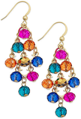 Style&Co. Gold-Tone Spice Multicolor Bead Kite Drop Earrings