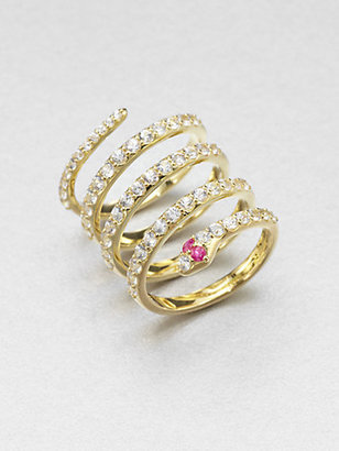 Elizabeth and James White Sapphire Snake Coil Ring