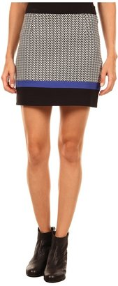 Tibi Jazz Stripe Knit Mini Skirt (Black/Natural Multi) - Apparel