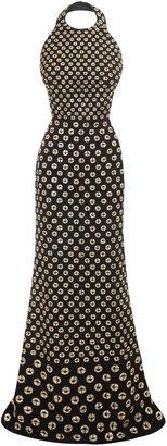 Alexander McQueen Embroidered Monogram Floor Length Dress