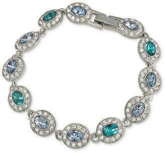 Carolee Bracelet, Silver-Tone Blue Oval Crystal Link Bracelet