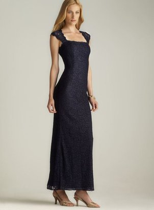 Adrianna Papell Open Back Long Lace Dress