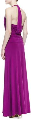 Halston Halter Jersey Gown With Twist Detail