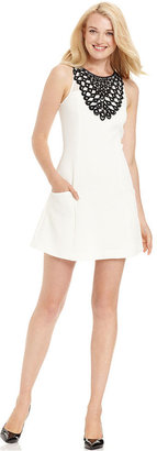 Kensie Dress, Sleeveless High-Neck Lace A-Line