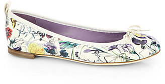 Gucci Ali Floral-Print Leather Ballet Flats