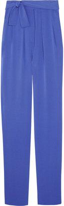 Diane von Furstenberg Leaves silk-georgette tapered pants