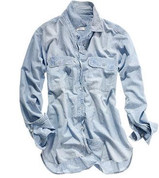 Madewell Chambray cargo shirt in cornflower wash