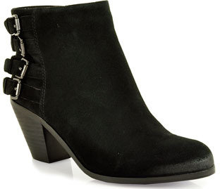 Sam Edelman Lucca - Buckled Suede Booties in Black