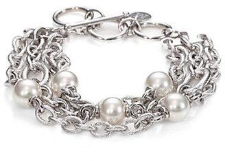 Majorica 8MM White Pearl Multi-Chain Bracelet