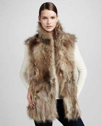 Adrienne Landau Long Raccoon Fur Vest, Natural